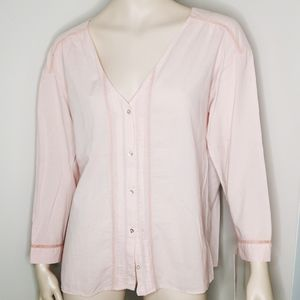 NWT Zara Cotton Pintucked & Lace Collarless Blouse